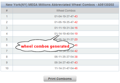 Florida Mega Money Lotto Wheels Sample Results